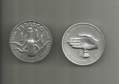 2 - 1968 Tabasco Sauce 100th Anniversary High Relief Medals in French & English