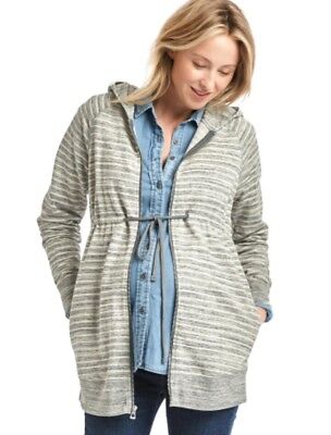 New GAP MATERNITY WOMEN'S ESSENTIAL ZIP UP HOODIE Heathered Gray Size SMALL S
