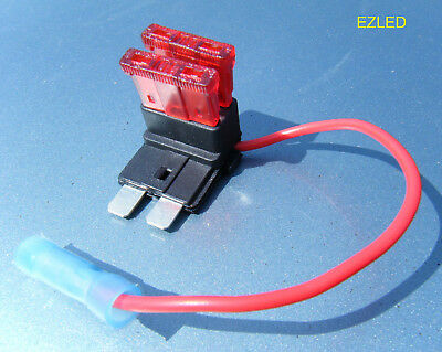 Car Blade Fuse Piggy Back By Pass Extra Circuit Connector with 2 Fuses NEW