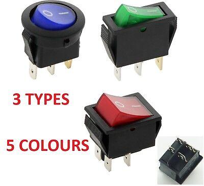 5 COLOUR 3 TYPES Rocker Switch ILLUMINATED ON OFF 240V 125V 16A DOUBLE POLE