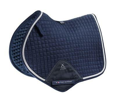 PEI Techno-Suede Close Contact Jump Saddle - Navy with Silver Binding