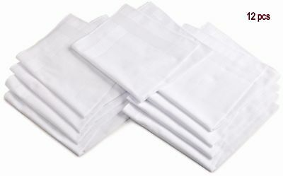 White Cotton Hankies 12 Pcs Pure Soft Cotton Plain Hankies Hankerchief 12 Pcs