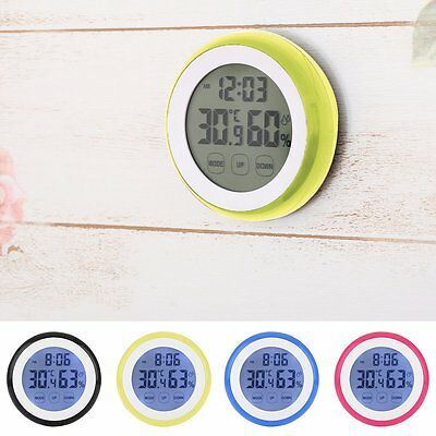 Thermometer LCD Digital Hygrometer Touch Screen Feuchtigkeit Temperatur Uhr Tool