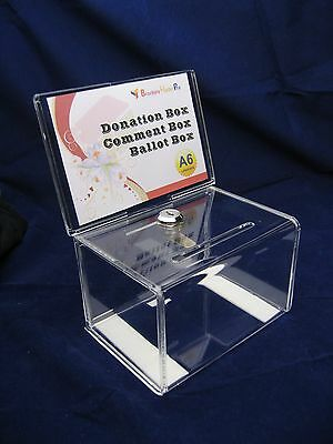 A6 Lockable Donation Box /Ballot Box / Suggestion Box - Clear Acrylic