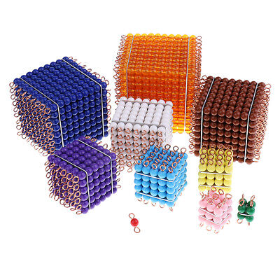 Kids 1-10 Beads Bar Cubes for Montessori Mathematics Early Learning Toy Gift