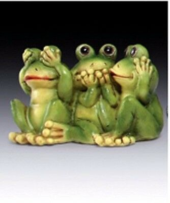 Figurine Sculptural Adorable Frog See No, Hear No Speak No Expression Goofy Eyes