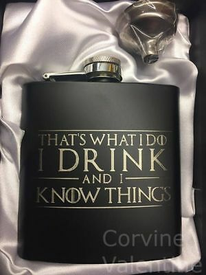 GAME OF THRONES FLASK - I Drink and I Know Things - 6 oz w/ gift box & funnel