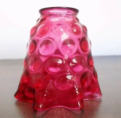 Antique bullseye cranberry glass lamp shade inverted thumb print pink glass lamp