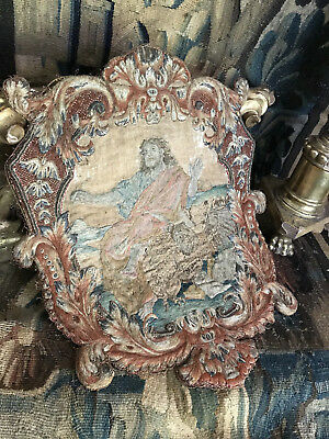 Antique French Louis XV  Embroidered Silk Stumpwork  Panel Eagle
