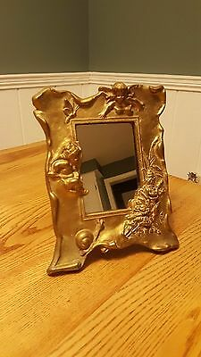 Antique Heavy Brass Cherub Mirror Frame with Snails, Butterflies & Flowers