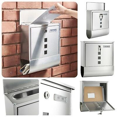 Wall Mounted Mailbox Stainless Steel Lockable Postbox With Name Plate Letter Box