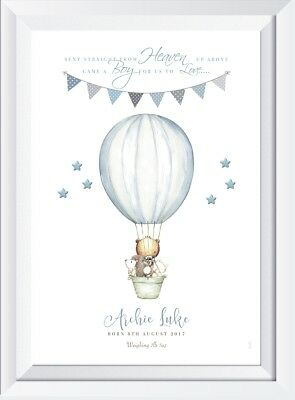 Personalised baby child woodland animal hotairballoon print name picture nursery