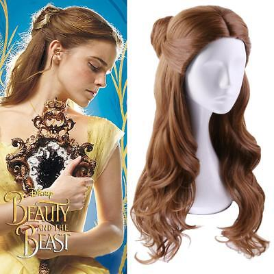 NEW 2017 MOVIE Beauty and the Beast Princess Belle long wavy brown Cosplay Wigs
