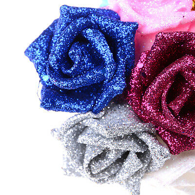 5pcs Colourful Full Glitter Roses Flowers Bride Bouquet Home Wedding Decor RDUJ