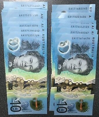 2x Special AUSTRALIAN Latest $10 ten Dollar 2017 Consec pair new UNC. DK prefix