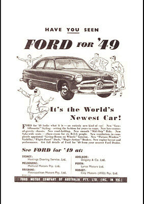 "1949 FORD PREFECT 10 A4 CANVAS PRINT POSTER 11.7""x8.3"""