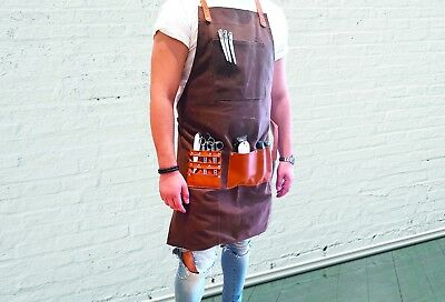 BARBER PRO Barber Apron Waxed Canvas CHOCOLATE BROWN