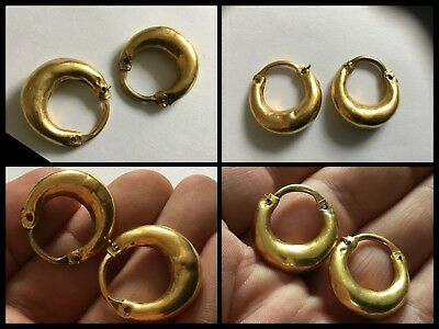 Rare Genuine Pair Of Ancient Roman Gold Lunate Earrings C2nd / 3rd Cent AD