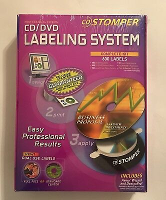 AVERY CD STOMPER PROFESSIONAL EDITION CD/DVD Labeling System 600 Labels NEW