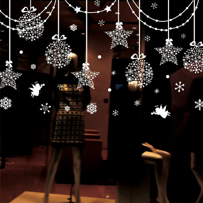 Hanging Balls Stars Snowflakes and White Angels for Window Coverings Decor Wall