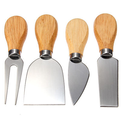 4PC Stainless Kitchenware Oak Wood Handle Cheese Butter Blade Fork Knives Set FL