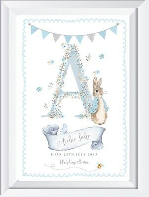 Personalised baby child Peter Rabbit name print picture nursery gift christening
