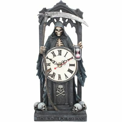 Time Waits for No Man Skeleton Reaper Clock (AS) 30.5cm