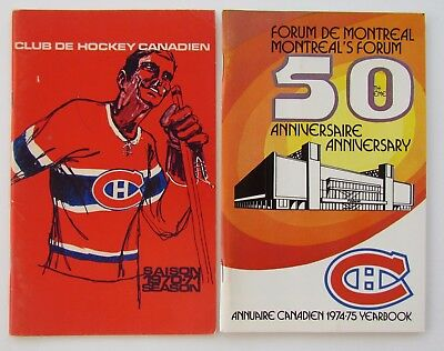 1970-71 and 1974-75 Montreal Canadiens Media Guides / Yearbooks – Lafleur Dryden