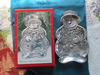 "Snowman Silver Color Metal Candy Dish - ""Home for the Holidays"">>GORGEOUS ITEM!!"