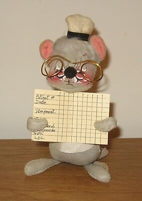 """Annalee Mobilitee Doctor Mouse Doll 6 ¼"""" tall with Glasses EUC"""
