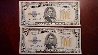 lot of (2) $5 north africa silver certificates with consecutive serial #s Reduce