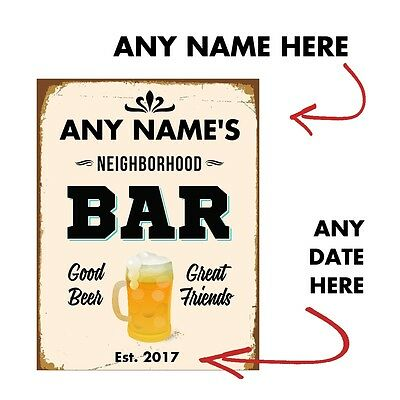 Custom Personalised BEER VINTAGE METAL SIGN TIN RETRO PLAQUE BAR PUB MAN CAVE
