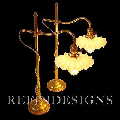 Pair Early Miller Brass Table Lamps Industrial Machine Age 1900 Faries
