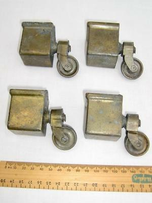Large square cup castors with one inch caster wheels   Brass  In good condition