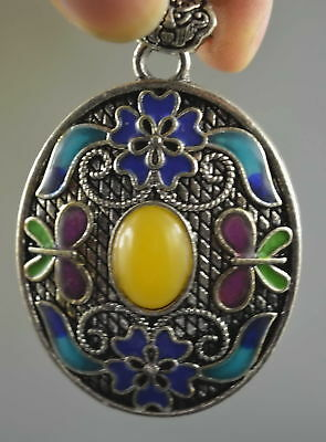 Collectable Handwork Decor Miao Silver Carve Colorful Flower Inlay Agate Pendant