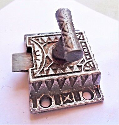 "Antique Eastlake Victorian Cast Iron Cabinet Door Latch Lock 2"" x 1 1/2"""