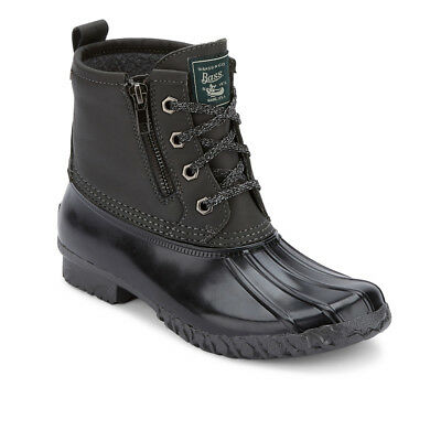 G.H. Bass & Co. Women's Danielle Leather Waterproof Duck Boot Dark Grey/Black