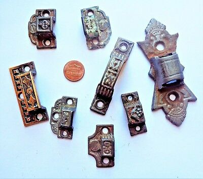 8 Assorted Antique Eastlake Victorian Keepers for Cabinet Door Latch / Lock