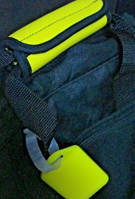 Luggage Tag Handle Grip Yellow , Neoprene Handle Wrap, Matching Yellow Hang Tag