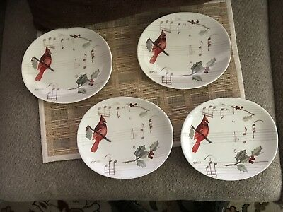 Set of 4 Jeremie Cardinal Oval Dessert or Salad plates.  Measures 7X 8 inches,