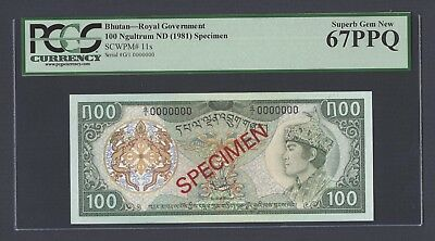 Bhutan 100 Ngultrum 1981 P11s Specimen Uncirculated Graded 67