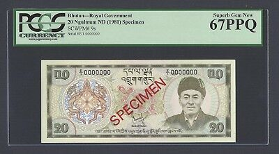 Bhutan 20 Ngultrum 1981 P9s Specimen Uncirculated Graded 67