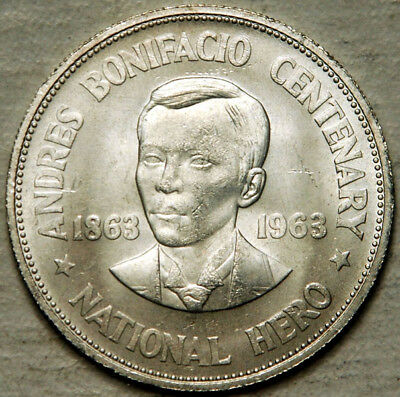 Philippines Silver 1 Peso 1963 (Lightly Toned Uncirculated)