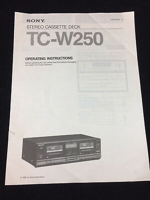 Operating Instructions === Sony Stereo Cassette Deck Tc-W250 , 1987