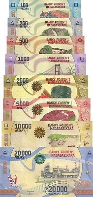 Madagascar 8 Note Set: 100 to 20000 Ariary (ND/2017) - Flora and Fauna/pNew UNC