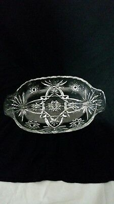 Vintage Pressed Glass Relish Condiment Dish Clear Candy pickles olives divided