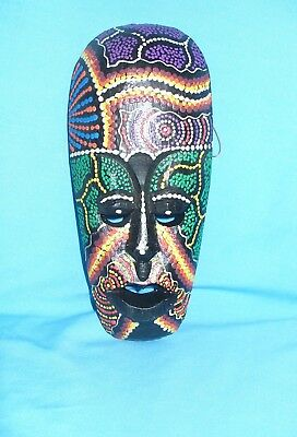 """New Hand Painted Hand Carved Wooden 8"""" Asian Style Indonesian Mask"""
