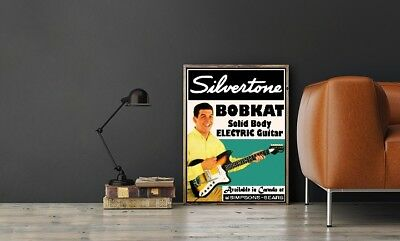 """Large Size 24""""x32"""" Silvertone Bobkat Solid Body Electric Guitar Poster"""