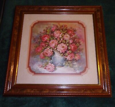 Vintage Home Interiors Rose Panel Picture 18 X 18 Wood Frame Artist Judy Crainer