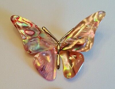 Mother Of Pearl Pink Butterfly Abalone Shell  Brooch Gold Tone Pin